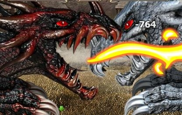 The Dragons Erifarius and Striagorn fighting in the free MMORPG Legend: Legacy iof the Dragons